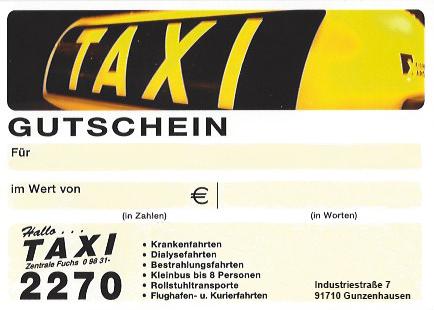 gutschein taxi zentrale in gunzenhausen und weissenburg. Black Bedroom Furniture Sets. Home Design Ideas